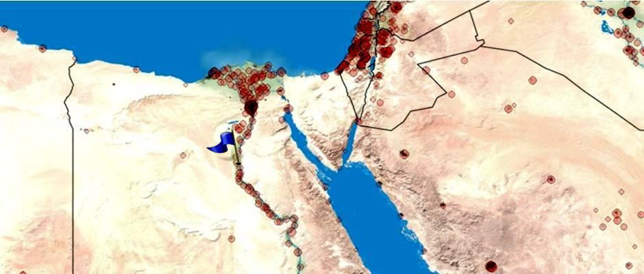 La ciudad de Menia marcada con una bandera azul en el mapa de Egito,Menia, mapa Egipto