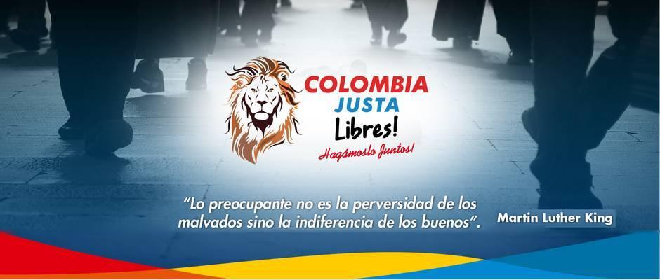 Cartel de campaña de Colombia Justa Libres,