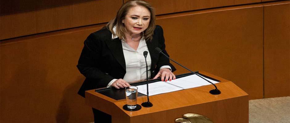Yasmín Esquivel en su intervención en el Senado / Galo Cañas (Cuartoscuro),