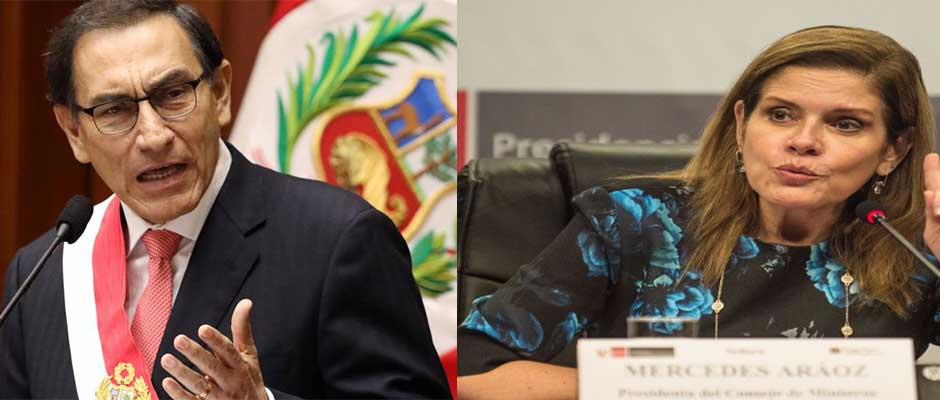 Perú con dos presidentes Martín Vizcarra (izquierda) y Mercedes Araoz (derecha),