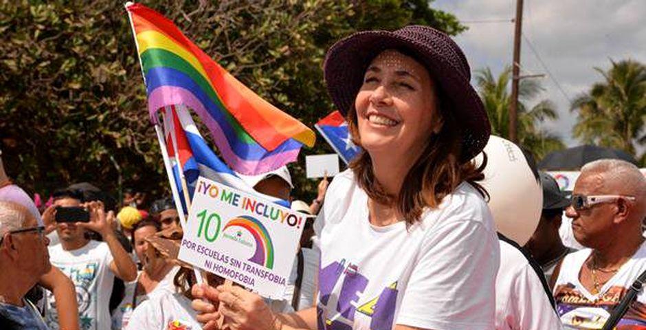 Mariela Castro, en una marcha LGTBI,Mariela Castro en una marcha LGTBI