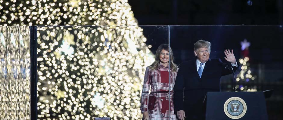 Donald Trump y la Primera Dama, Melania Trump, durante el encendido del árbol,Donald Trump, Melania Trump