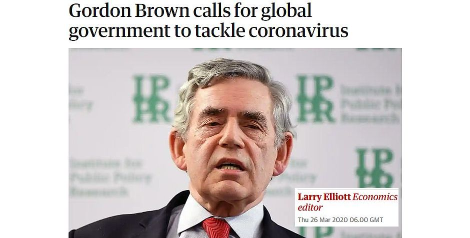 La noticia en The Guardian,Gordon Brown, Gobierno Mundial