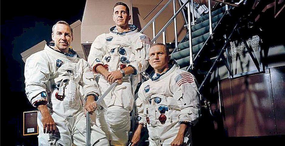 Frank Borman, James Lovell y William Anders.,Frank Borman, James Lovell y William Anders.