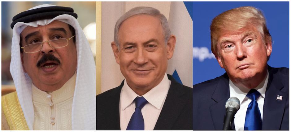Hamad bin Isa Al Khalifa, Benjamin Netanyahu y Donald Trump. / Imágenes: Wikipedia (CC 2.0),