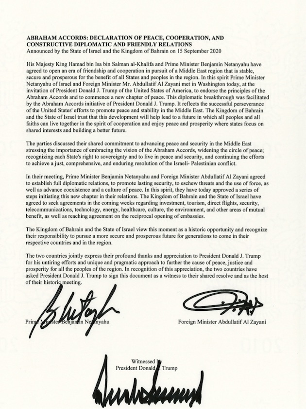 Firman acuerdo de paz los 'hijos de Abraham'