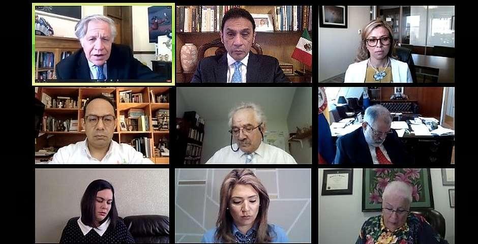 Luis Almagro interviniendo en un momento del encuentro,Luis Almagro, OEA