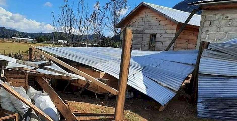 Una de las casas destruidas,