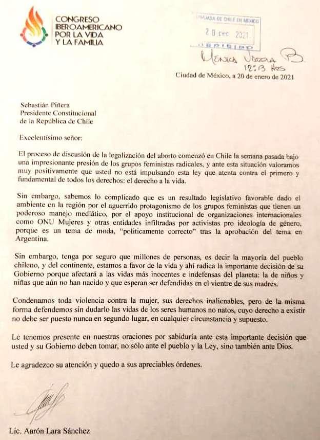 Plataforma evangélica provida entrega carta al presidente de Chile