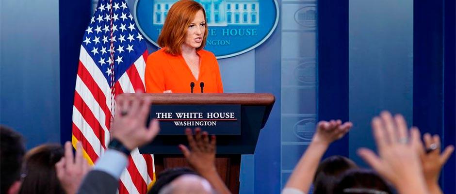 Psaki habla durante la sesión informativa diaria en La Casa Blanca el lunes 21 de junio. /  APhoto-Susan Walsh,Jen Psaki